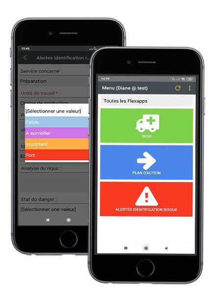 Application mobile Flexio Document unique d'évaluation des risques